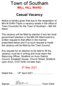 Town Council Vacancy - Mill Hill Ward
