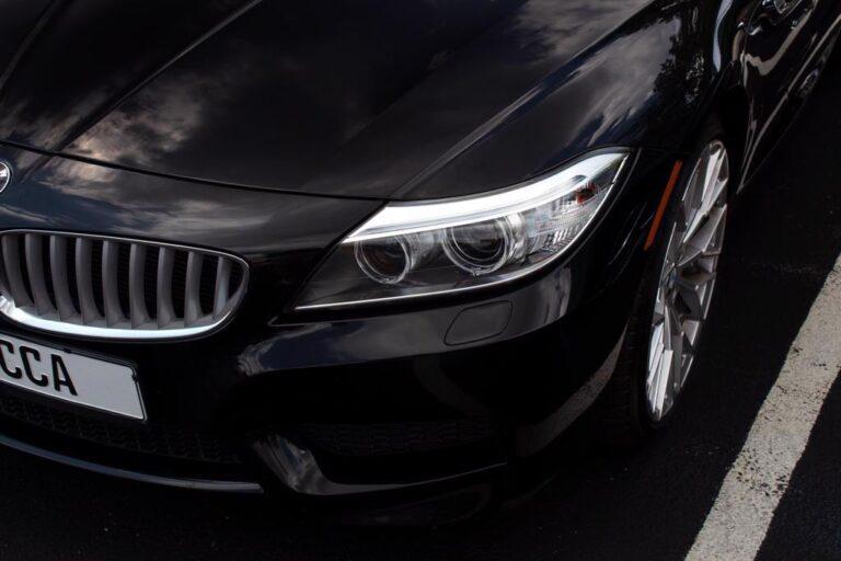 Close up of black car bonnet